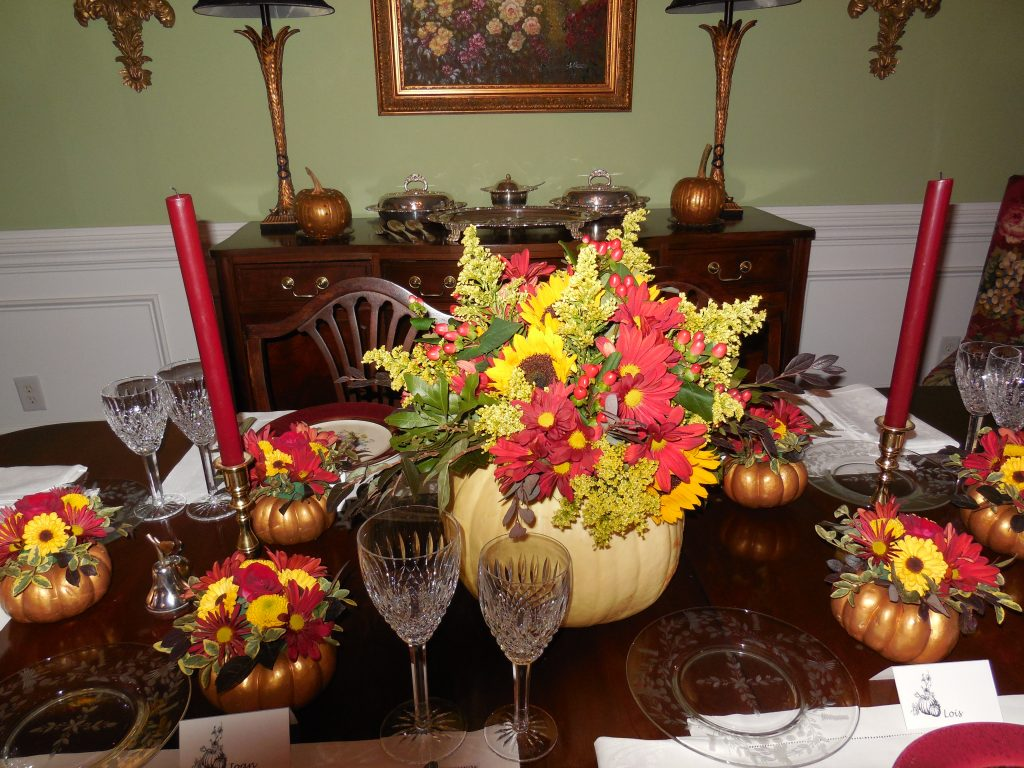 close up of pumpkin centerpiece--Thanksgiving Table Settings-No Jive Turkey!