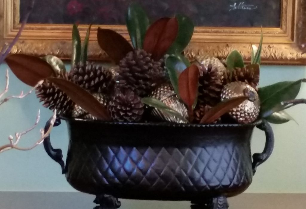 large urn with mercury glass acorns--Thanksgiving Table Settings--No Jive Turkey!