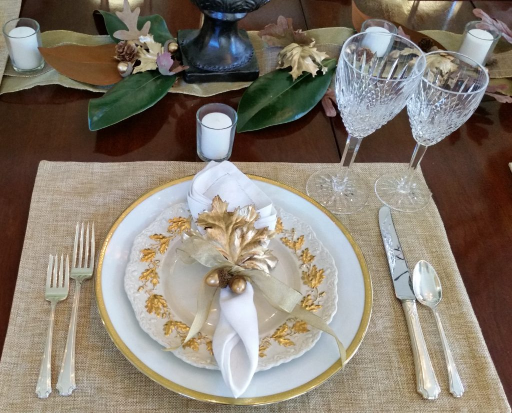 masons-oak-gold-plate--Thanksgiving Table Settings--No Jive Turkey!