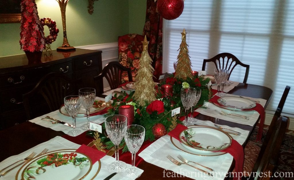 Dining room table set fro Christmas dinner --Christmas Centerpiece Conundrum