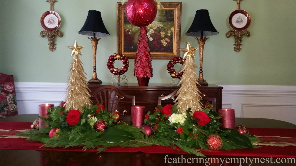 Dining room with Christmas Centerpiece --Christmas Centerpiece Conundrum