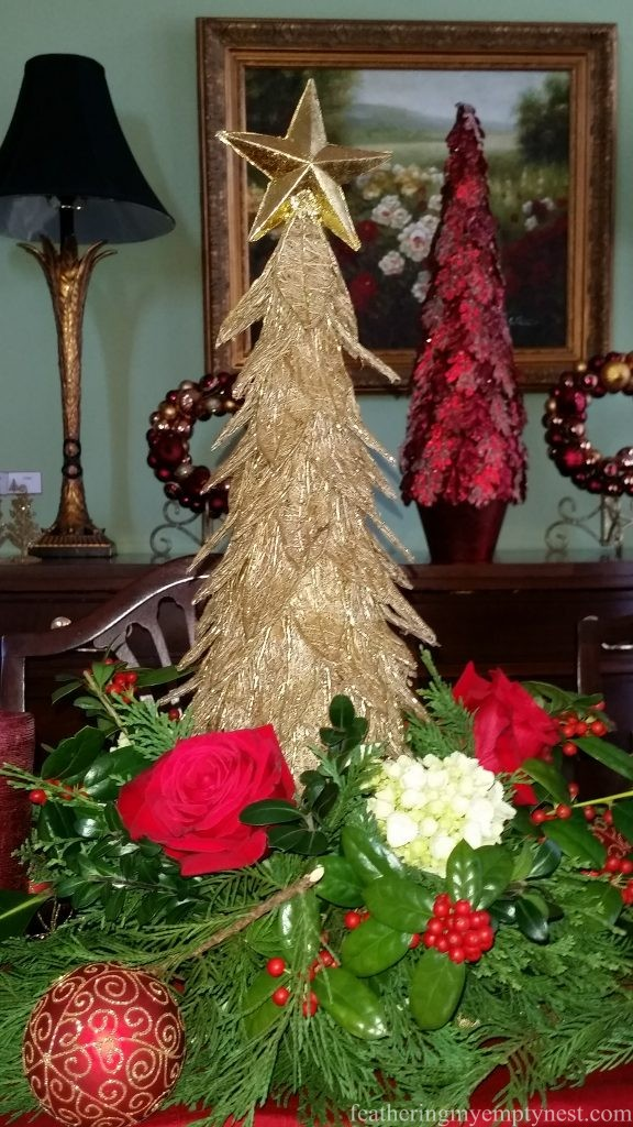Christmas Centerpiece with gold trees, greenery and fresh flowers --Christmas Centerpiece Conundrum