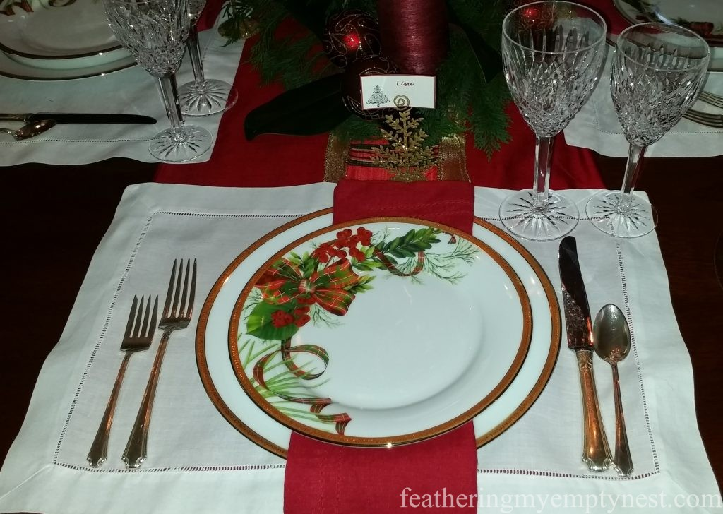 Charter Club Christmas plates take center stage in this classic Christmas table setting --Christmas Centerpiece Conundrum