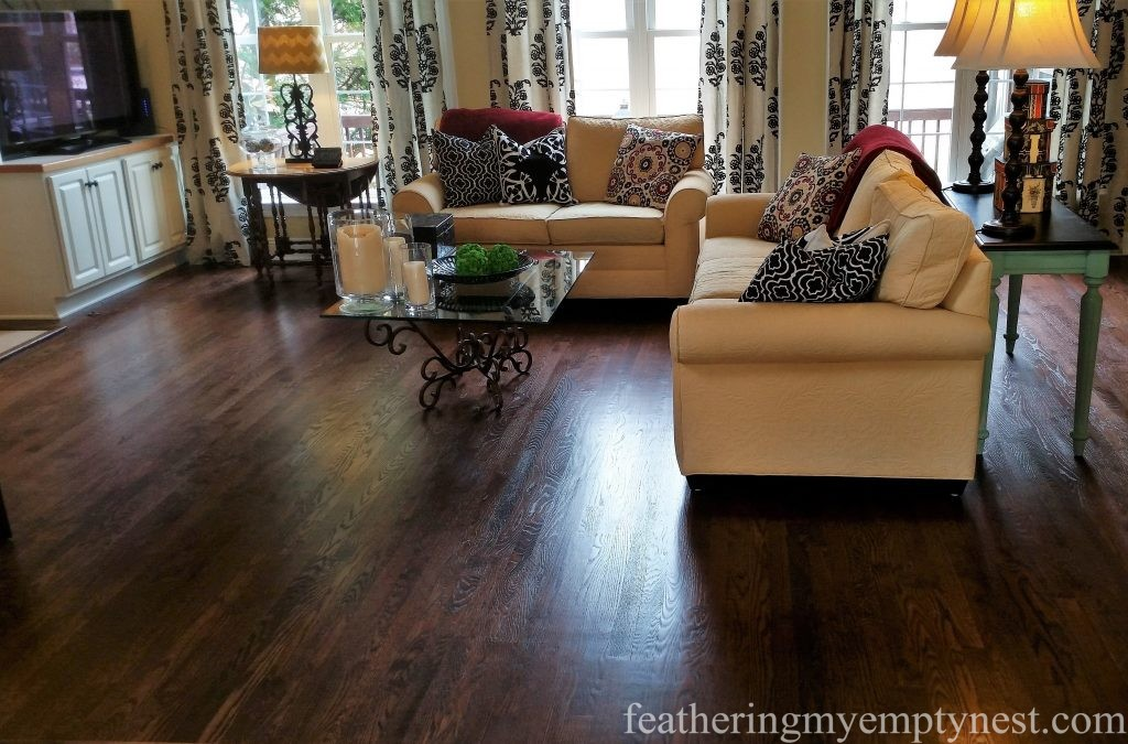 Refinished Mahogany Stained Red Oak Hardwood Family Room Floor