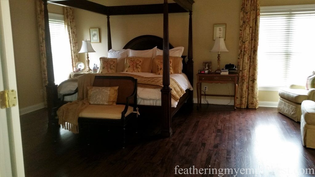 Mahogany Stained Master Bedroom Hardwood Floor