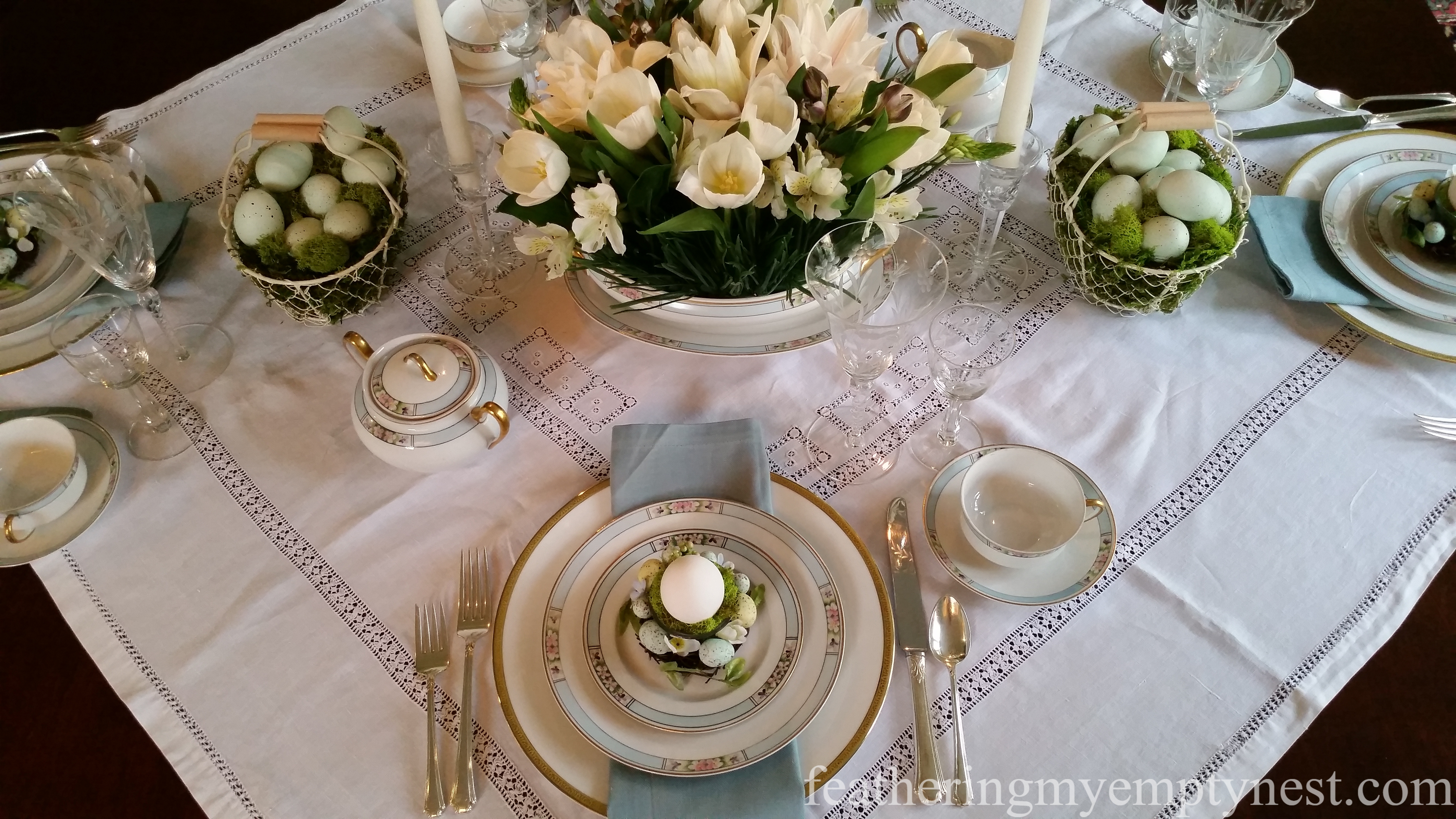 Robin S Egg Blue Easter Brunch Tablescape Feathering My