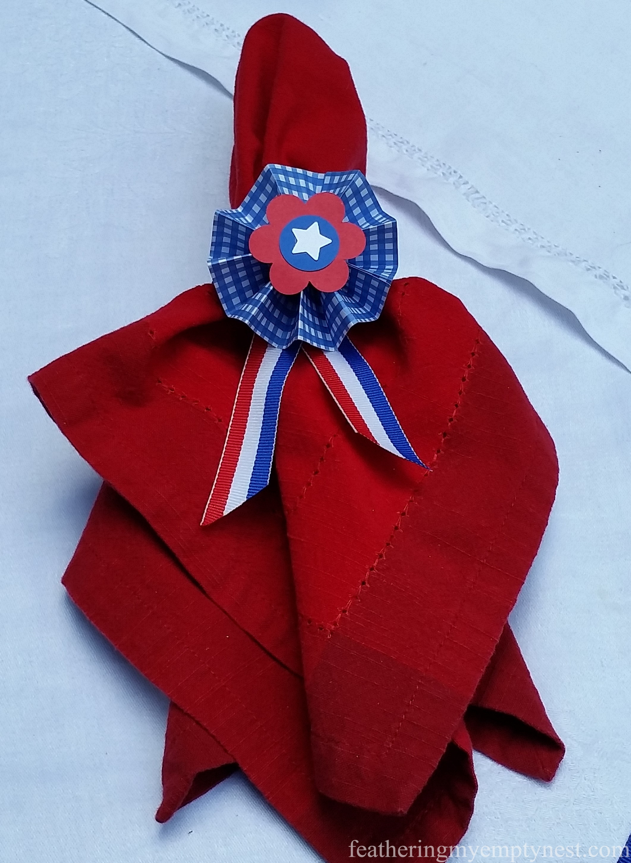 Patriotic rosette napkin ring --Old Fashioned 4th of July Tablescape