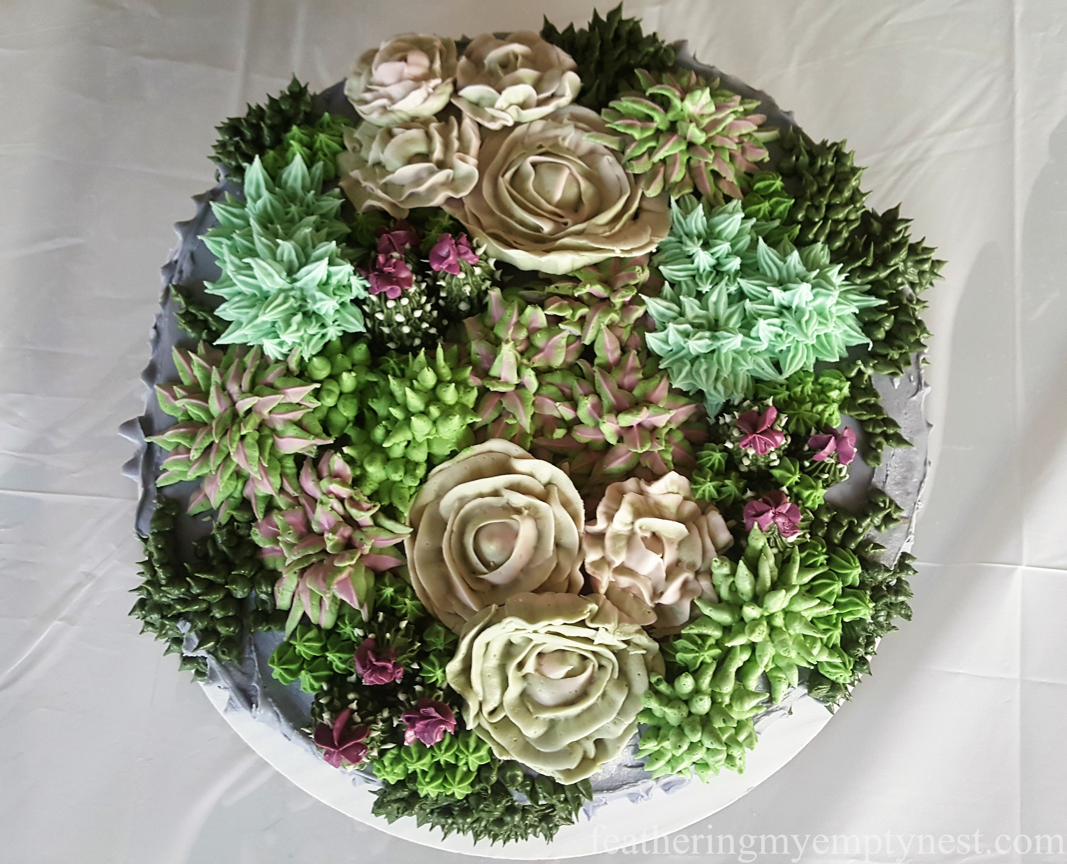 Birdseye view of buttercream cake for Trendy Succulent-Themed 80th Birthday Party