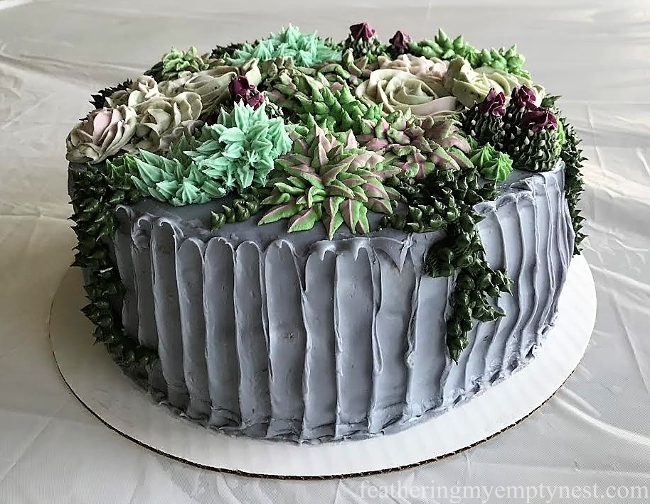 Succulent Cake with five different buttercream plants for Trendy Succulent-Themed 80th Birthday Party