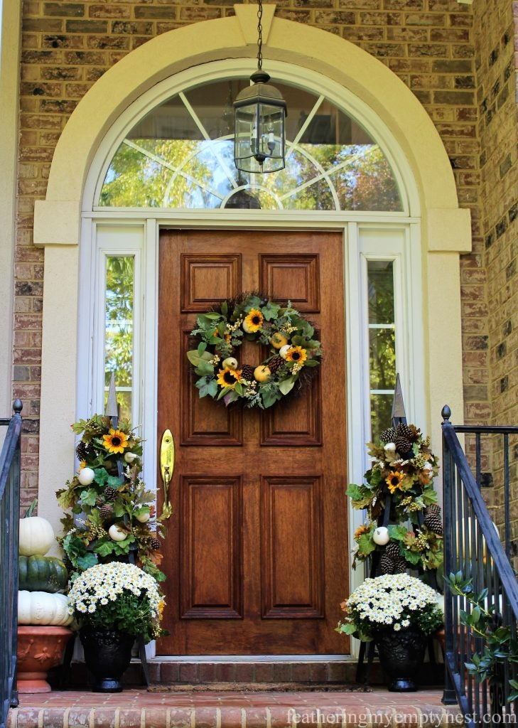 Fall front door decor with obelisks --Fall front door decor with obelisks.