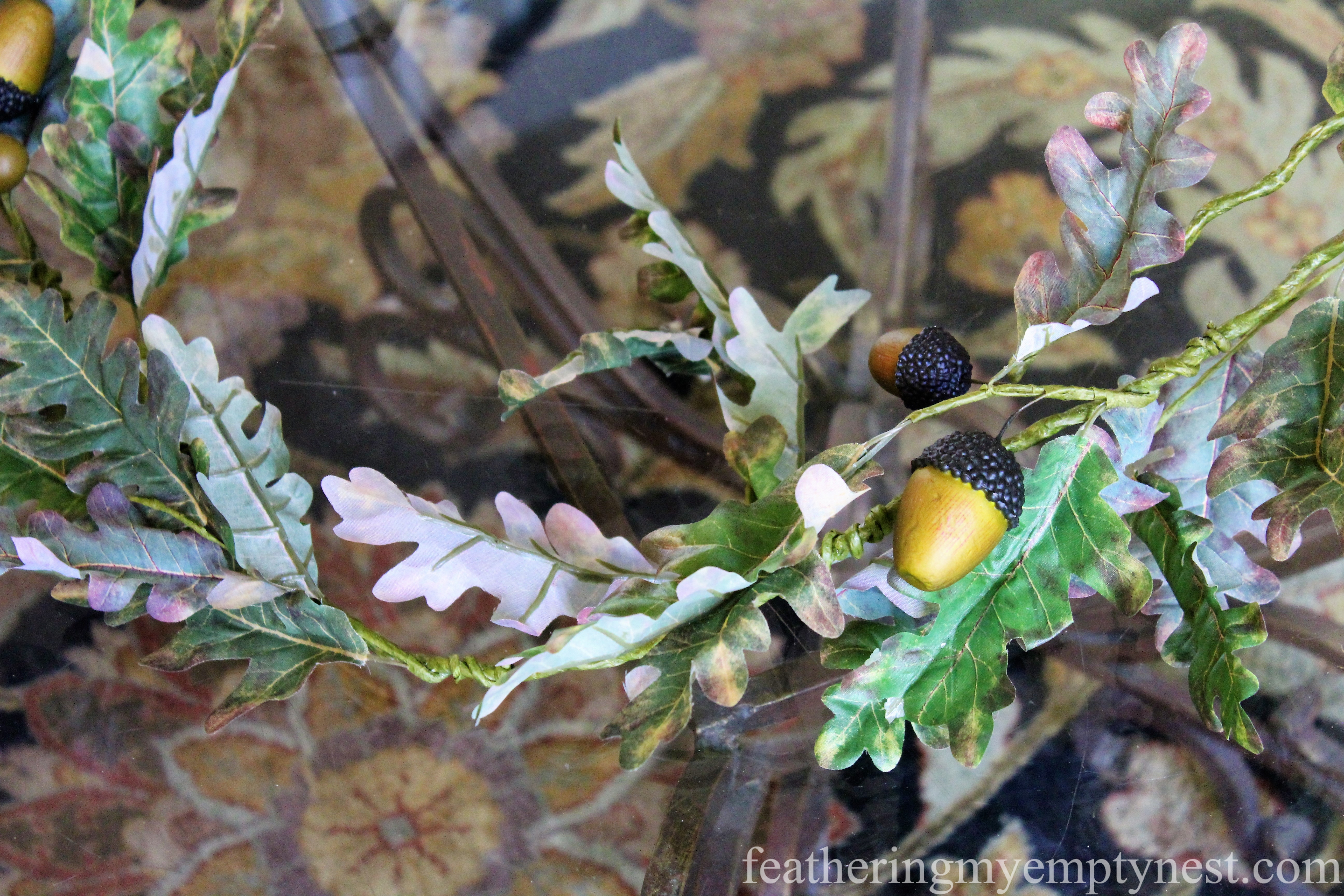 Faux oak leaf garland --Easy Fall To Christmas Coffee Table Arrangements
