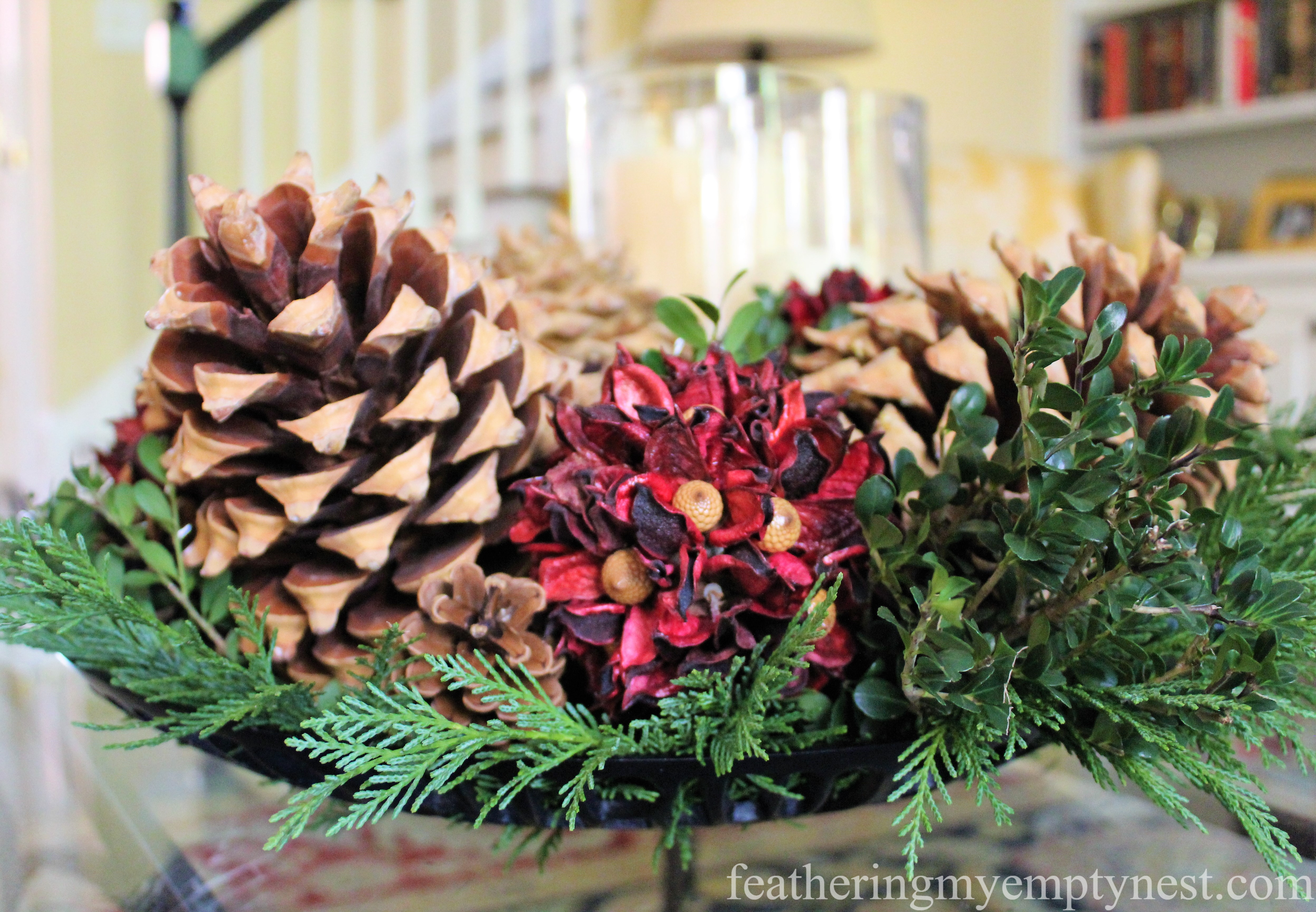 Winter --Easy Fall To Christmas Coffee Table Arrangements