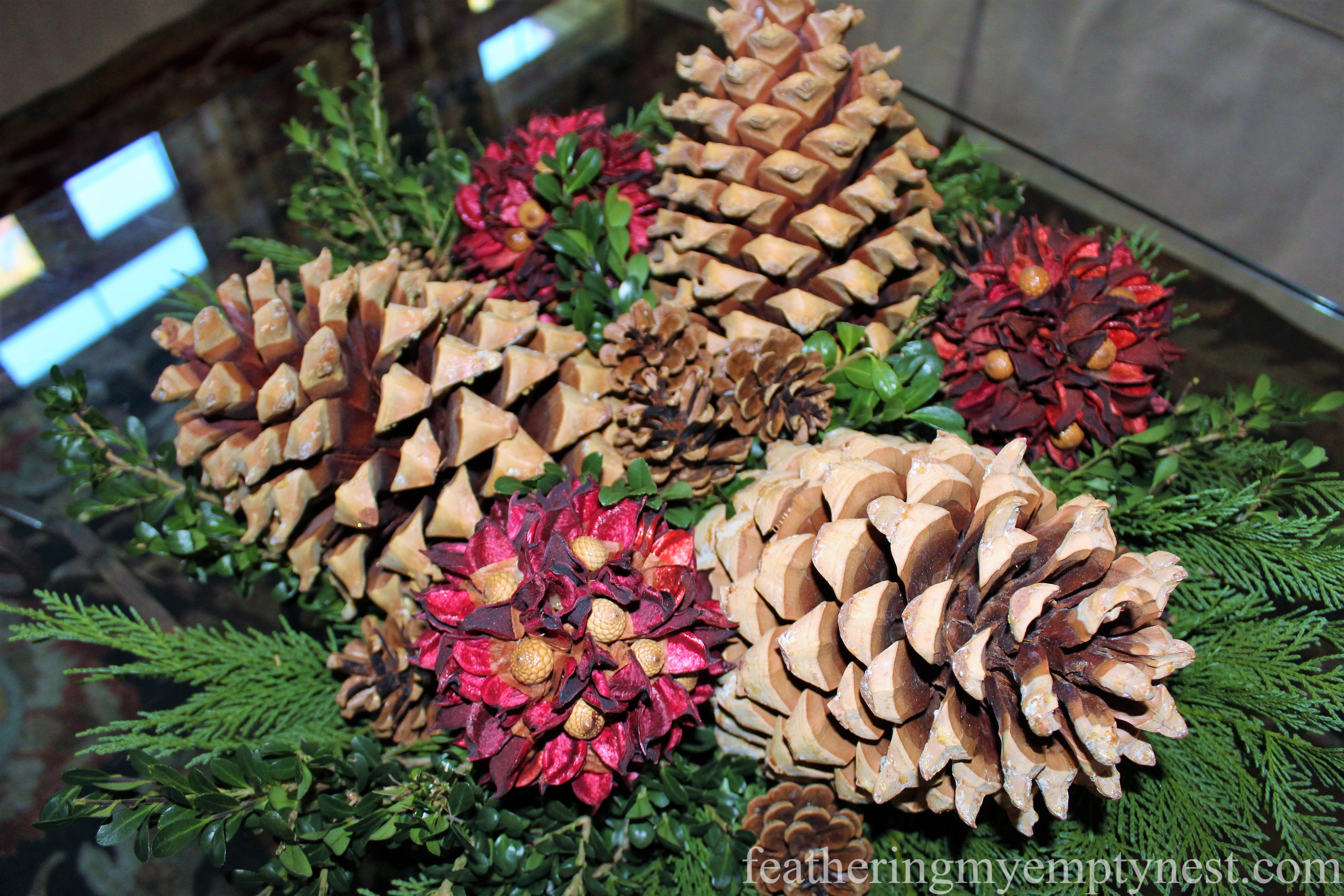 Coulter pine cones in Christmas/winter arrangement --Easy Fall To Christmas Coffee Table Arrangements
