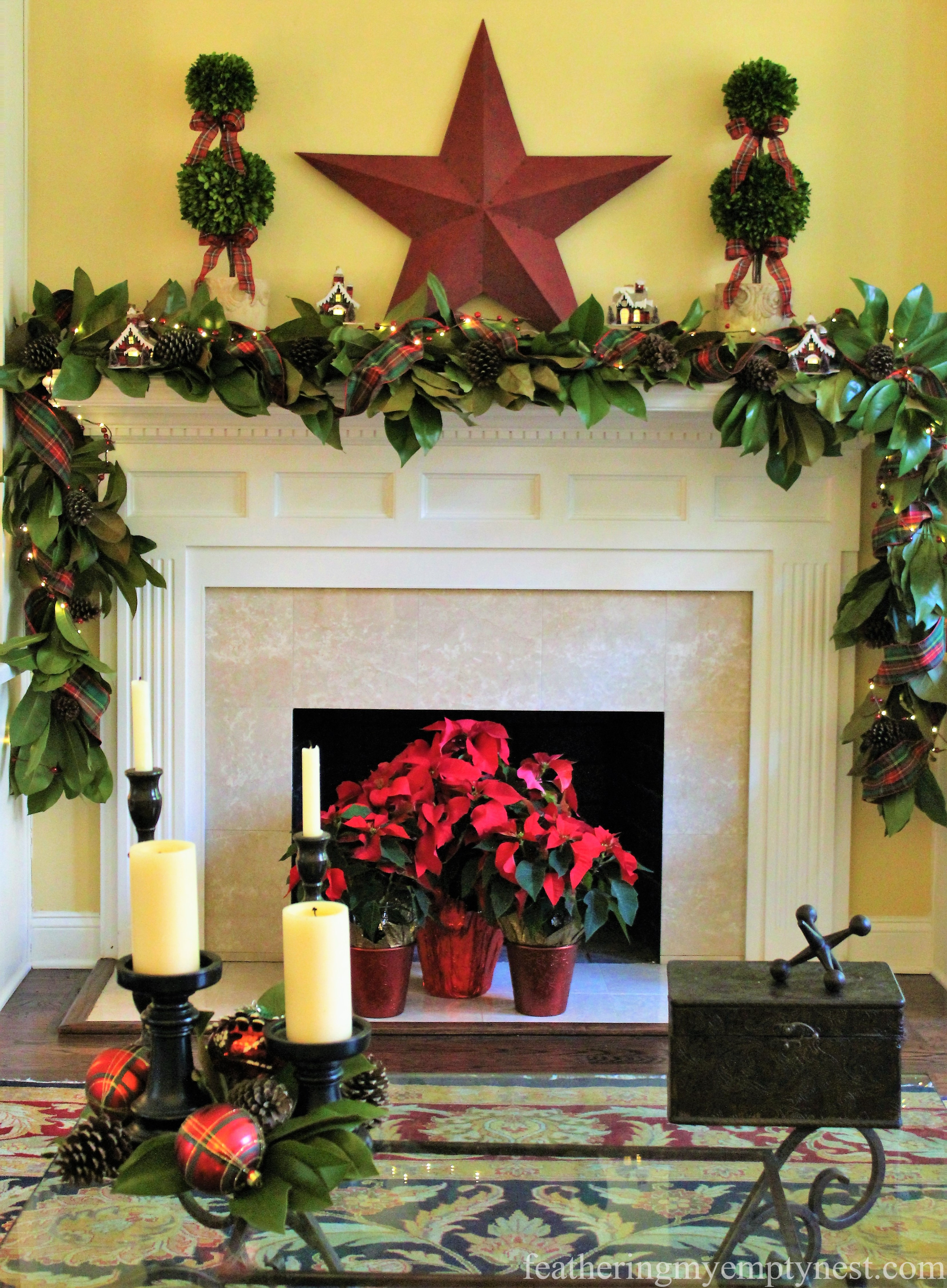 --Mad For Plaid Christmas Mantel