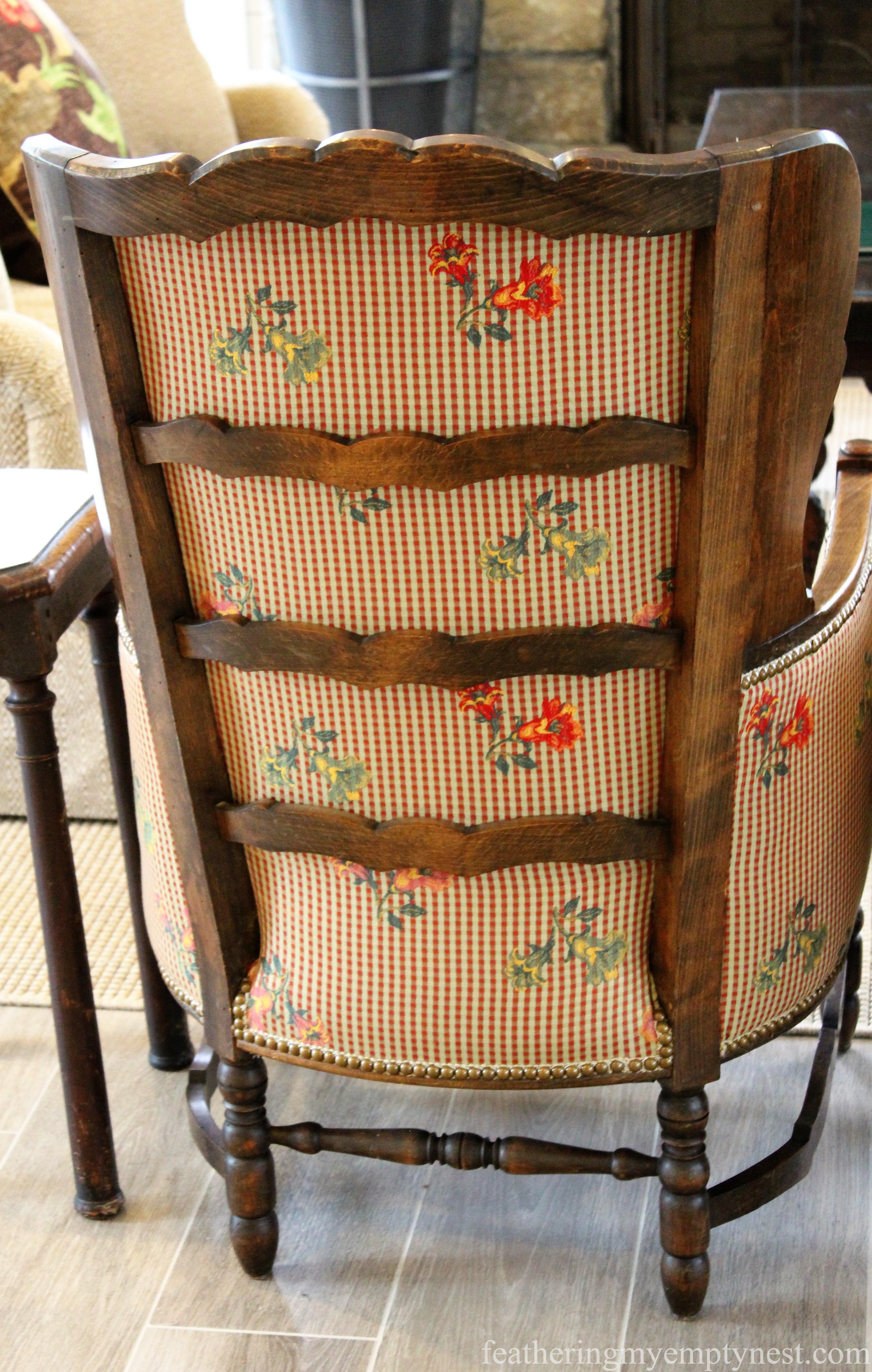 Beautifully upholstered chairs at the Inn At Half Mile Farm ----Elegant Colorful Farmhouse Style