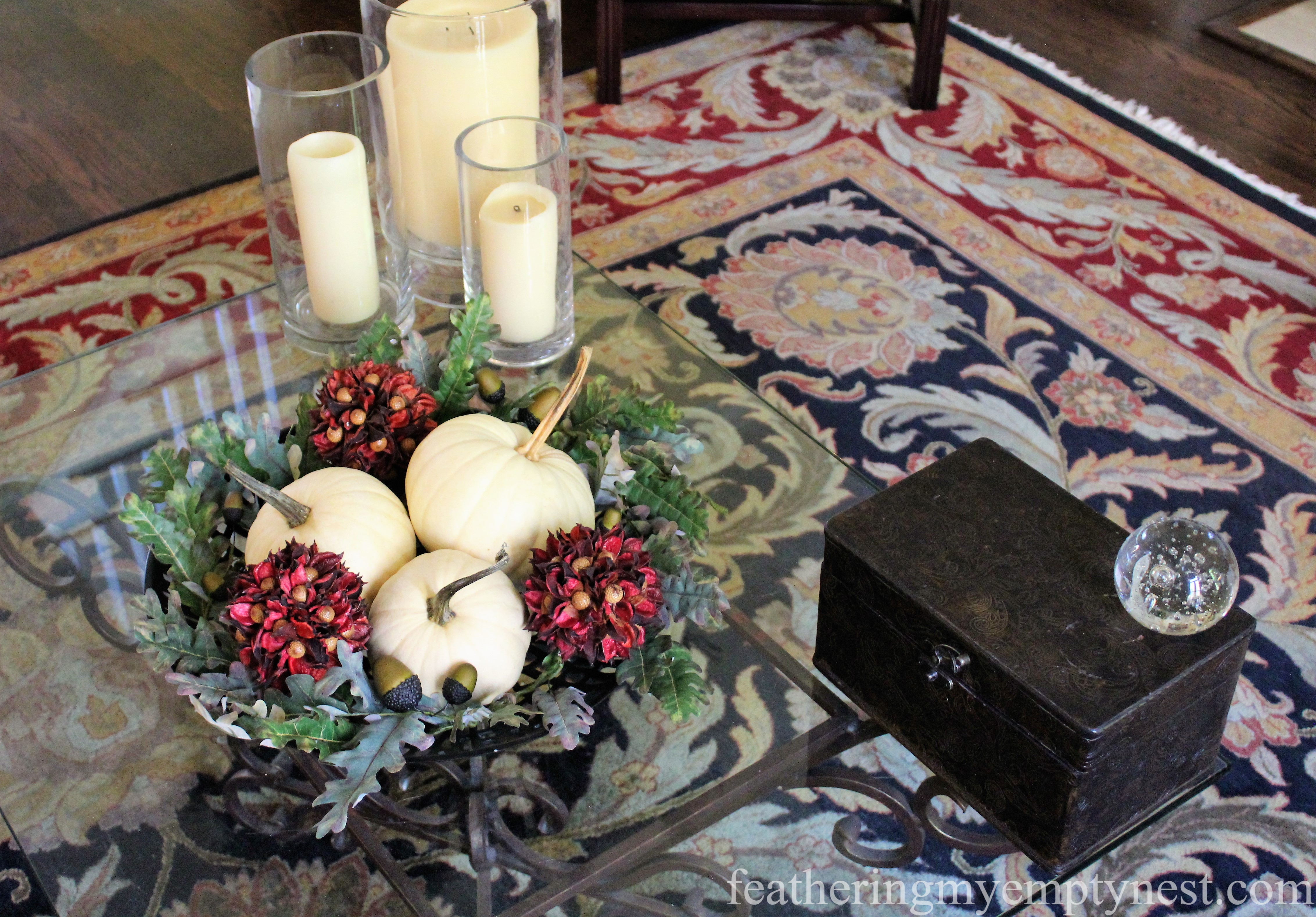 Fall --Easy Fall To Christmas Coffee Table Arrangements