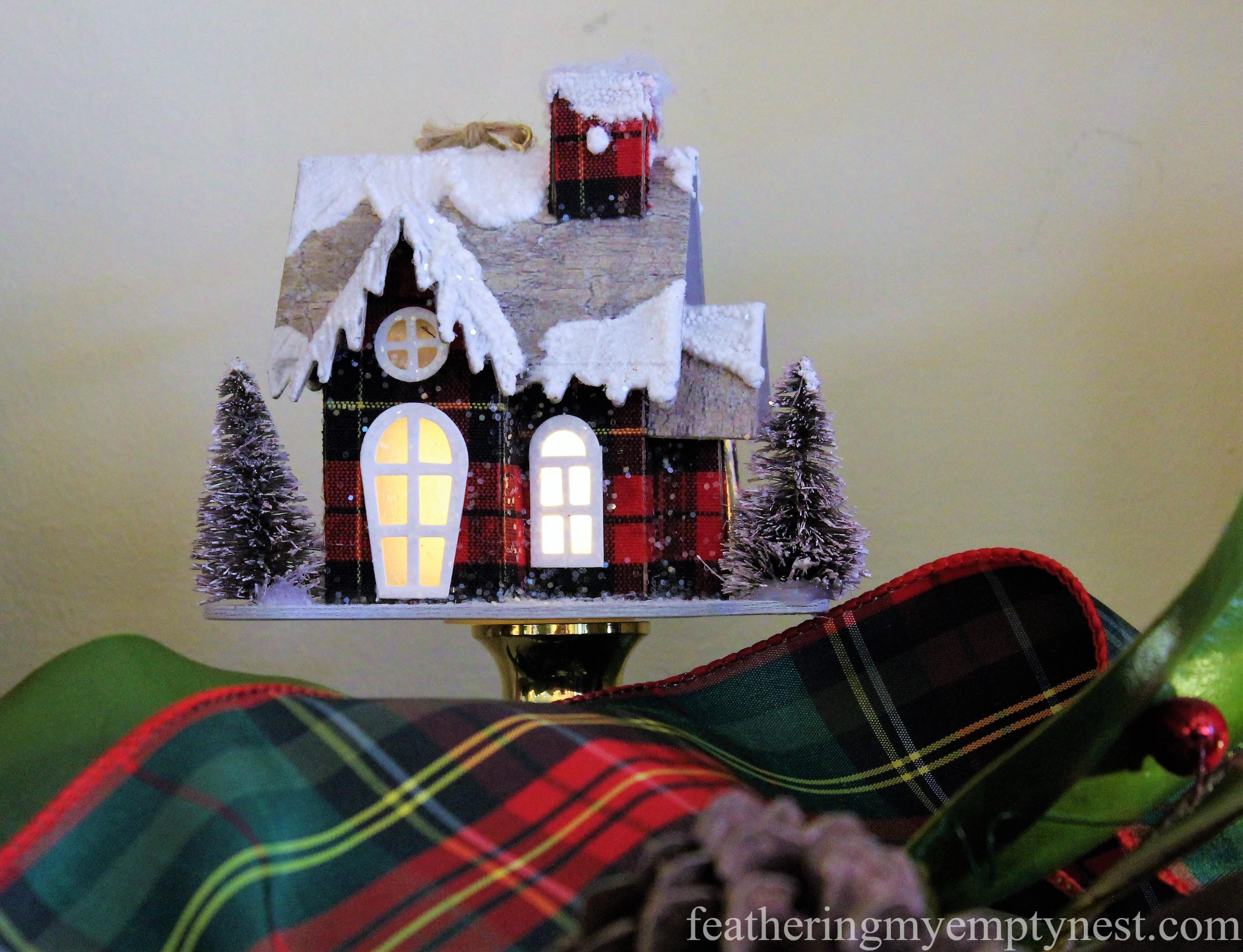 Plaid lighted ornament --Mad For Plaid Christmas Mantel
