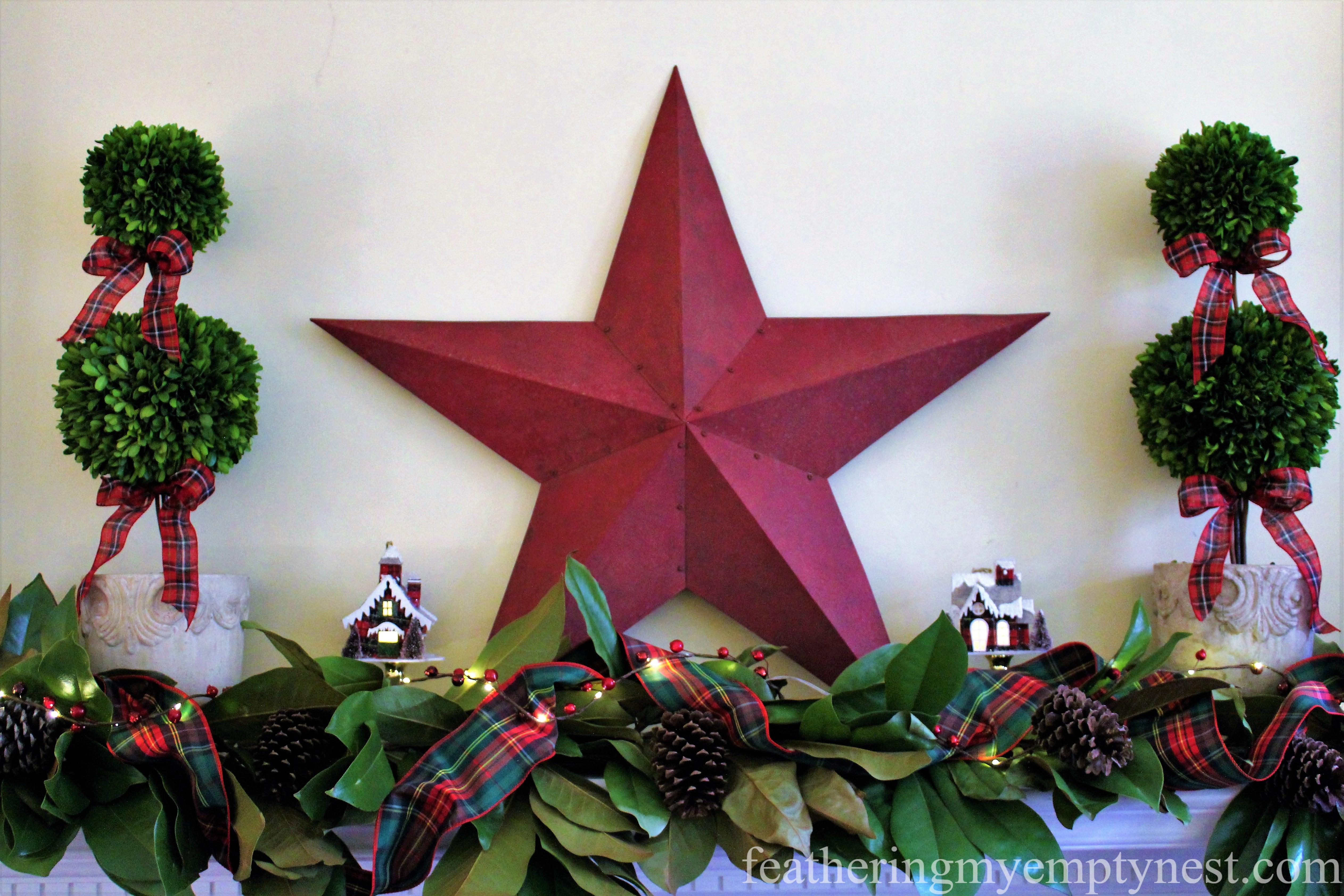 --Mad For Plaid Christmas Mantel