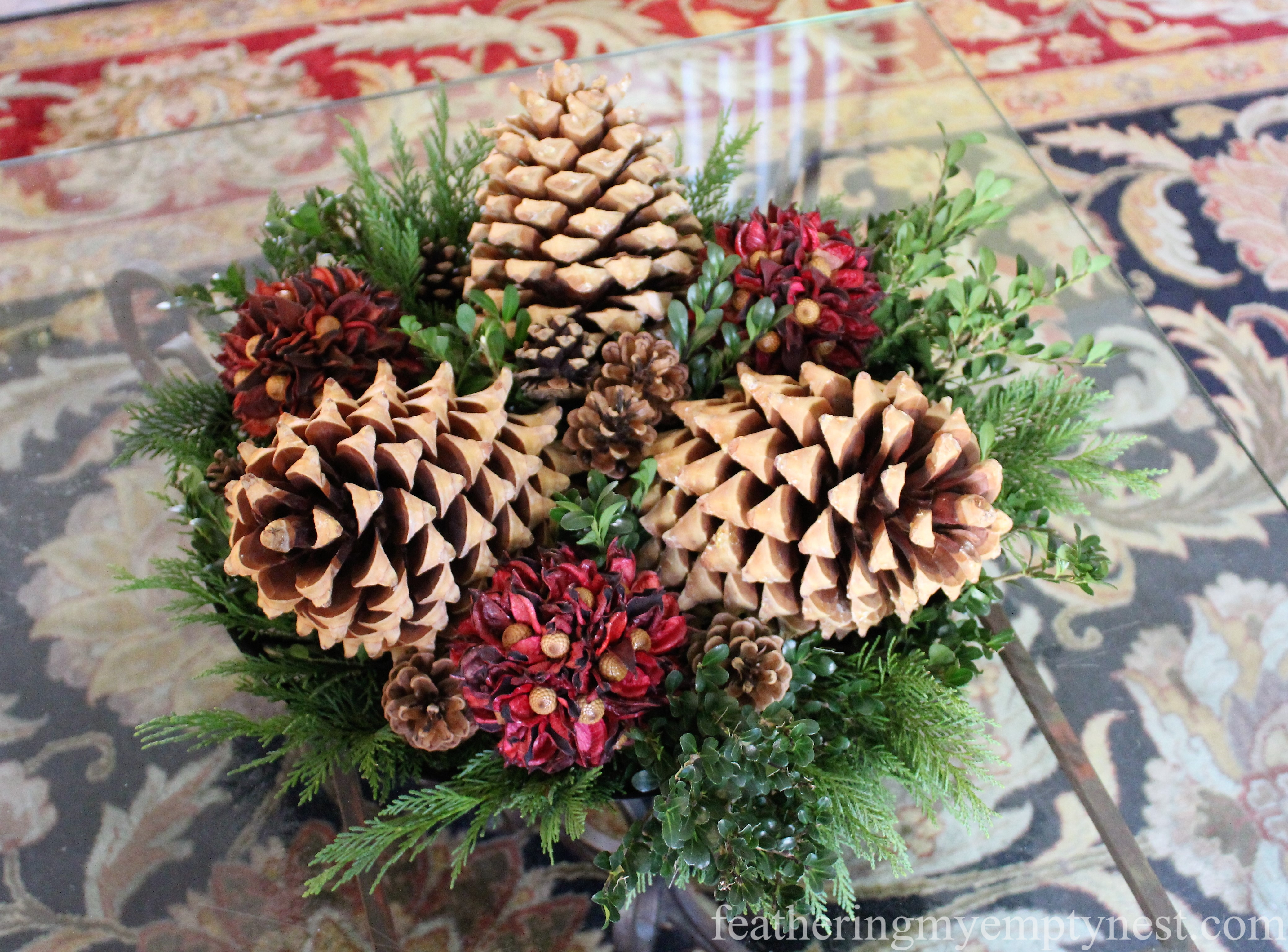 Christmas or Winter --Easy Fall To Christmas Coffee Table Arrangements