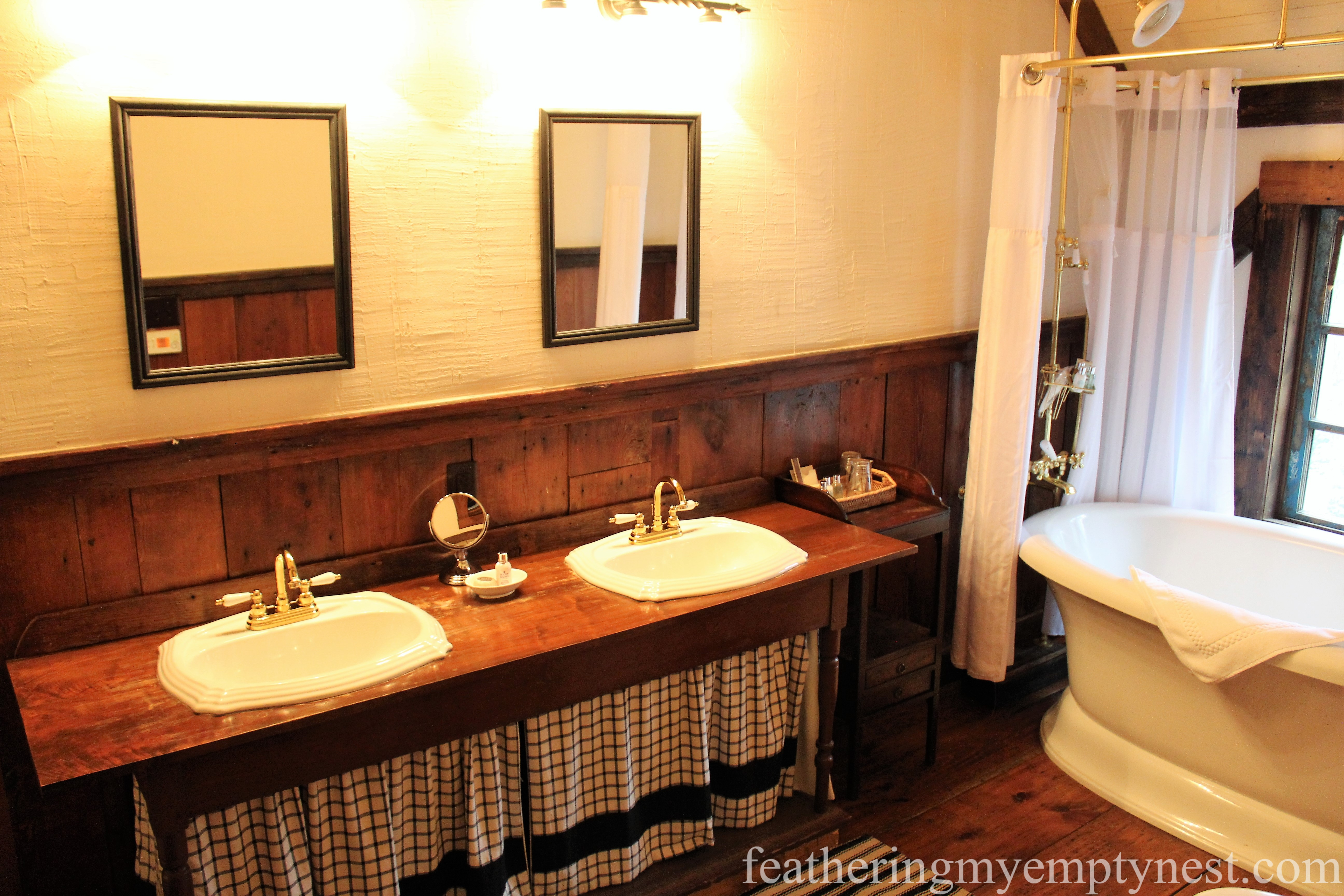 bathroom in the master suite in one of the cabins at the Inn At Half Mile Farm --Elegant Colorful Farmhouse Style