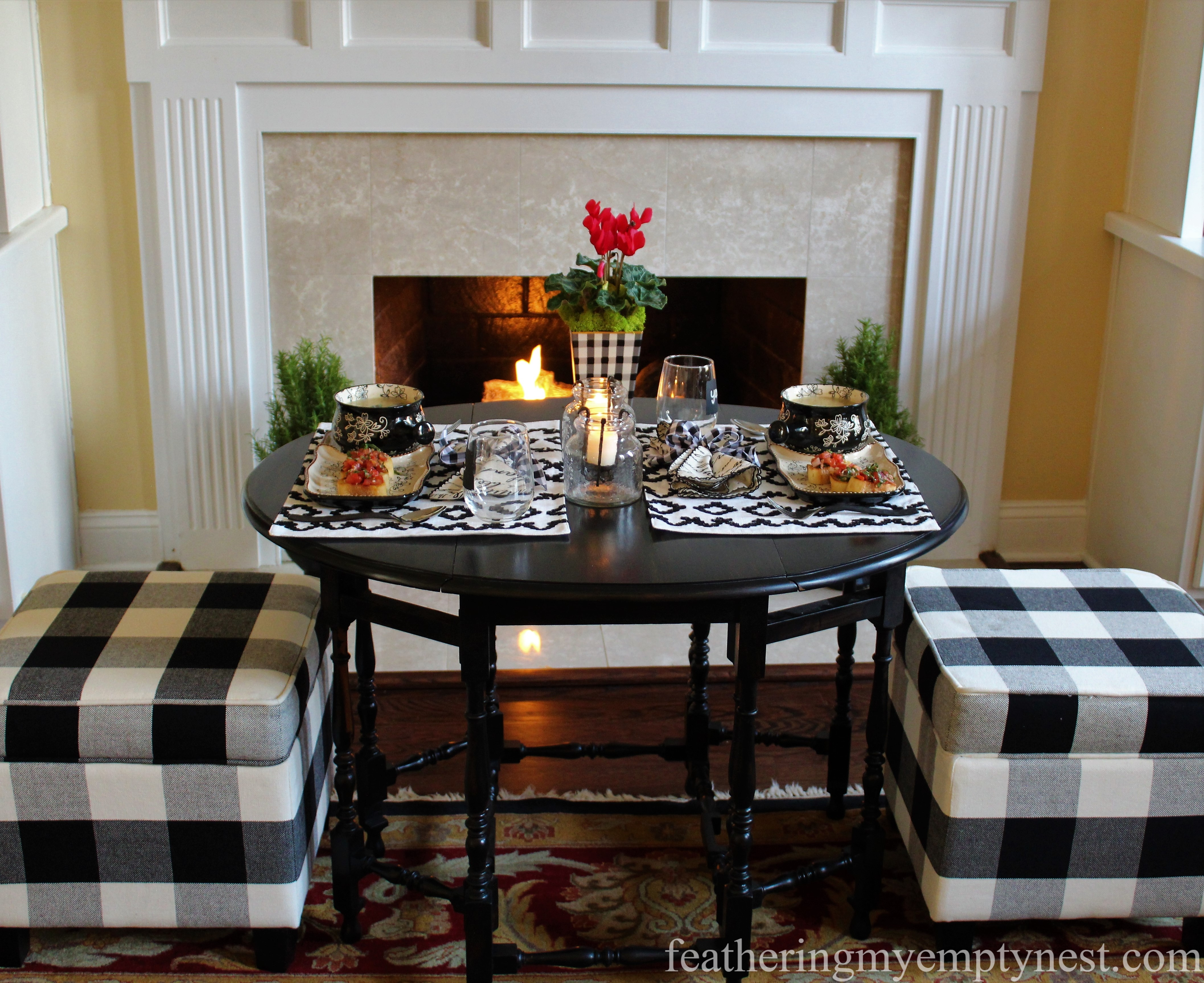Black & White gingham dresses up this winter soup supper table --White Bean Soup & Bruschetta