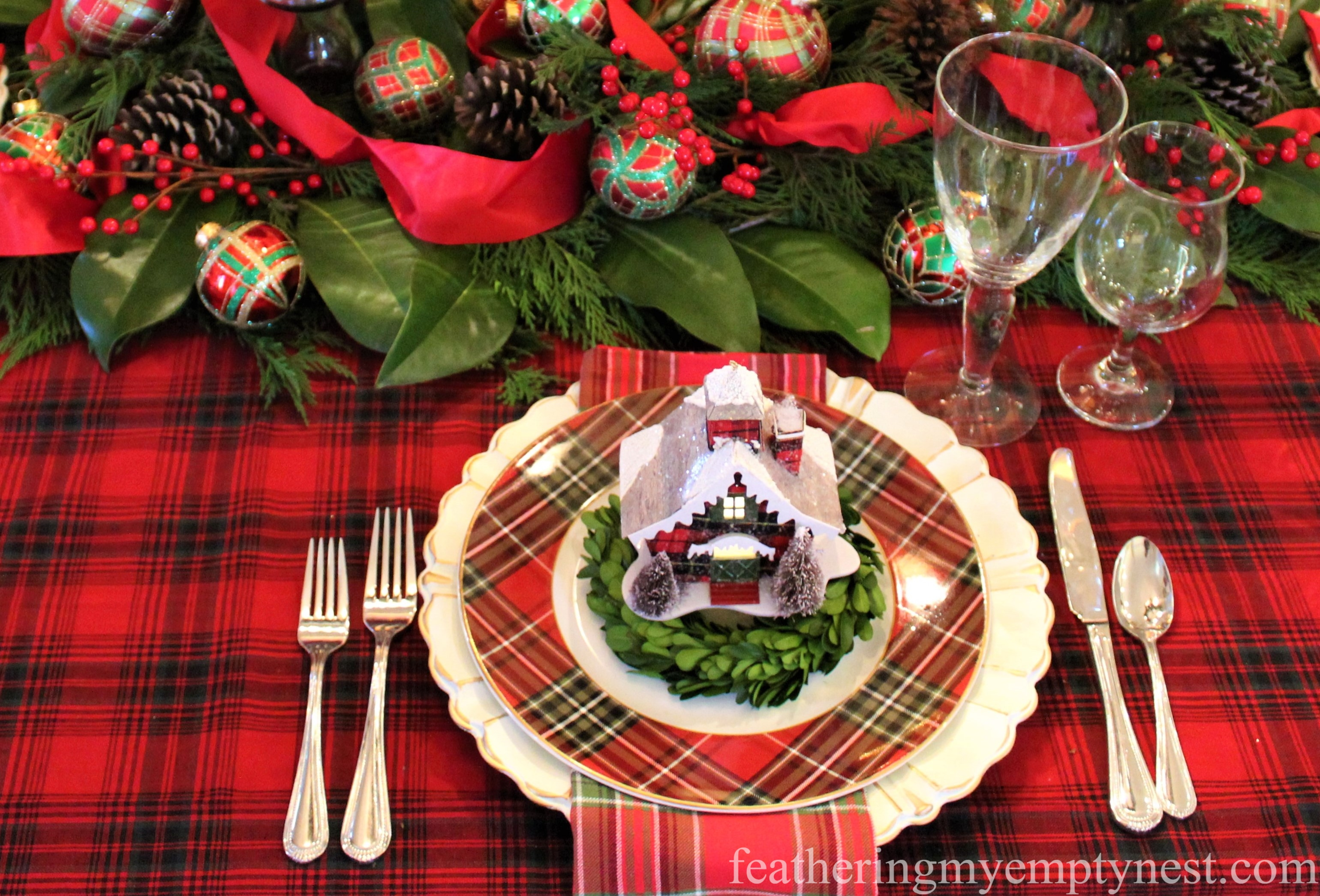 Plaid place setting --Pancakes & Plaid: A Christmas Breakfast Table