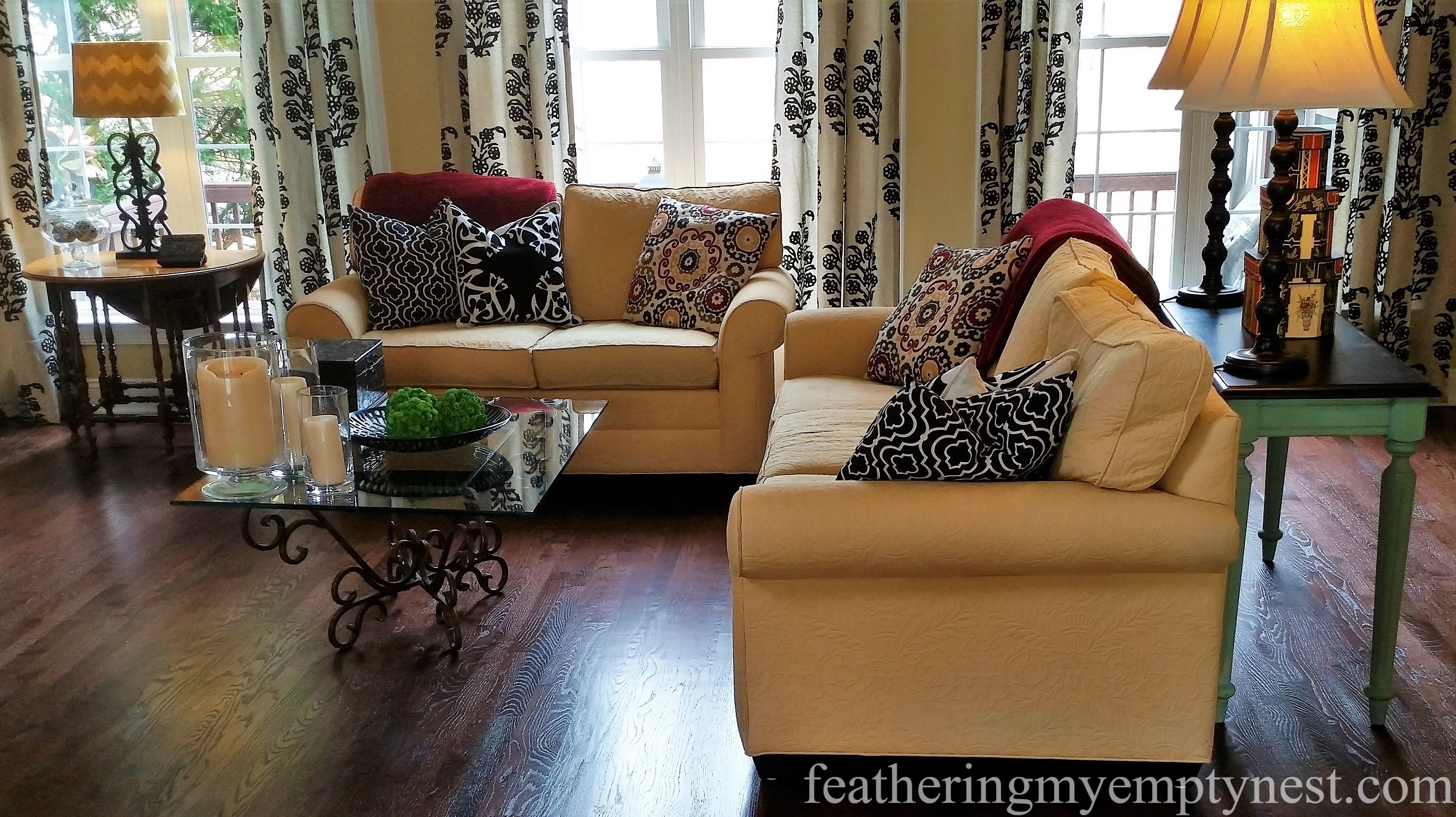 Yellow Matelasse Upholstered Rolled Arm Sofa And Loveseat --Slipcovers --The Ultimate Solution