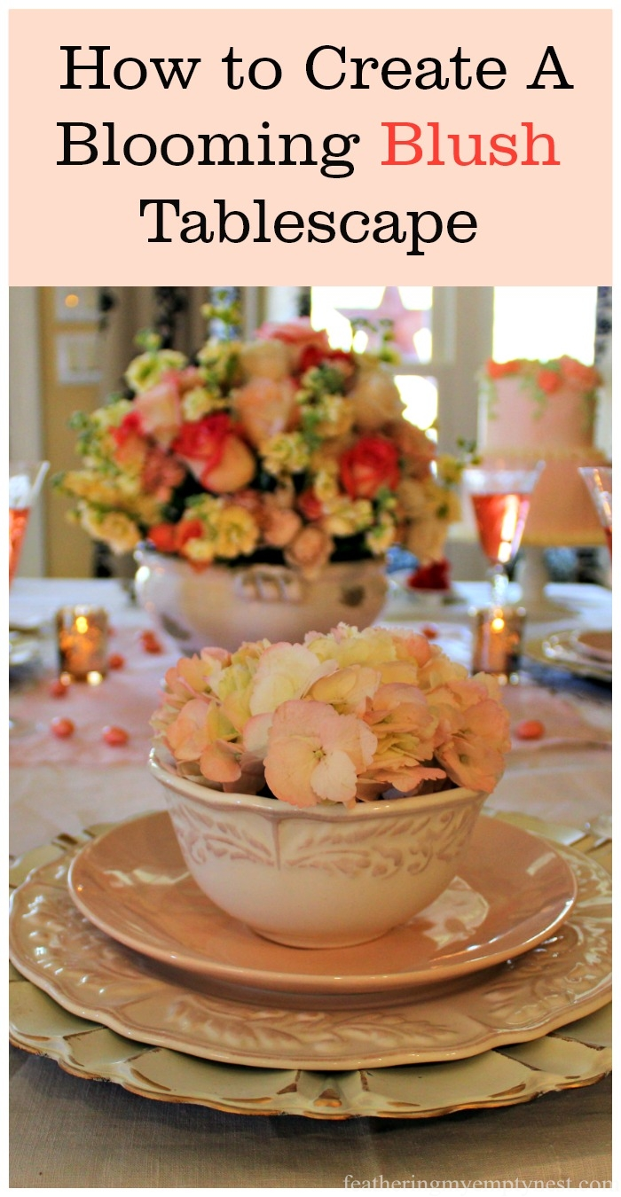 The soft blush tones and floral theme of this Blooming Blush Tablescape is perfect for Valentine's Day, Easter, Mother's Day, an anniversary or a special birthday party.