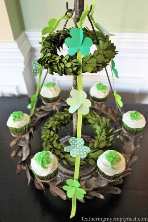 St. Patrick's Day cupcake candelabra --St. Patrick's Day Irish Cream Shamrock Cupcakes