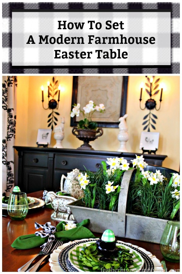 How To Set A Modern Farmhouse Table For Easter With A Bit Of Gingham