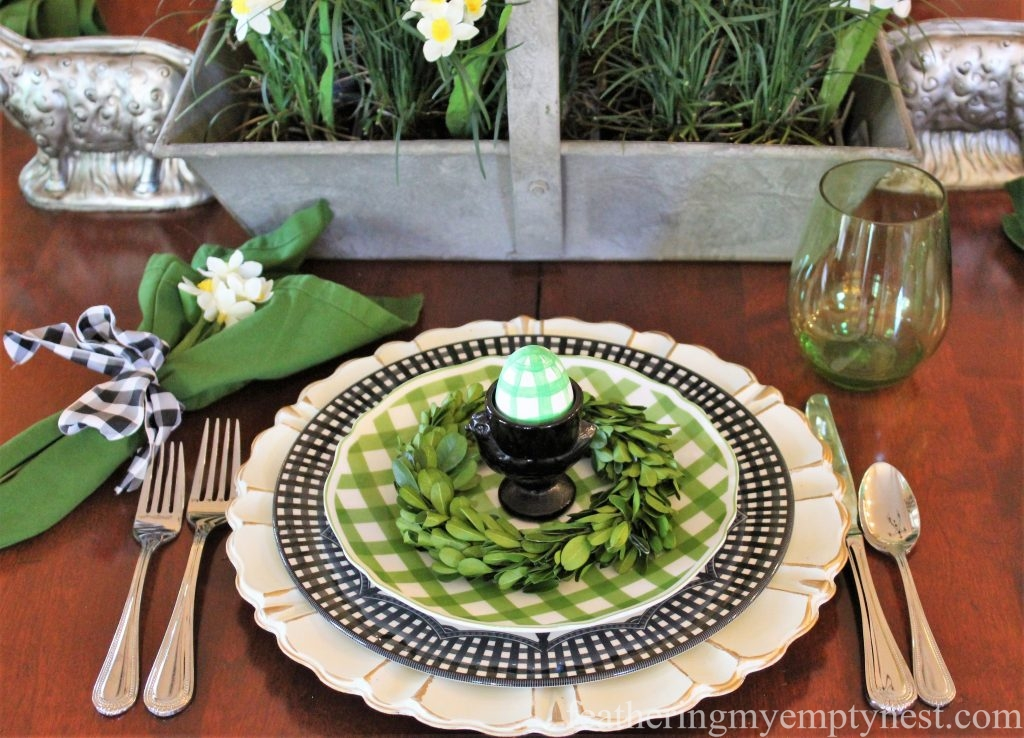 Green and black gingham table setting --How To Set A Fresh Fun Farmhouse Easter Table
