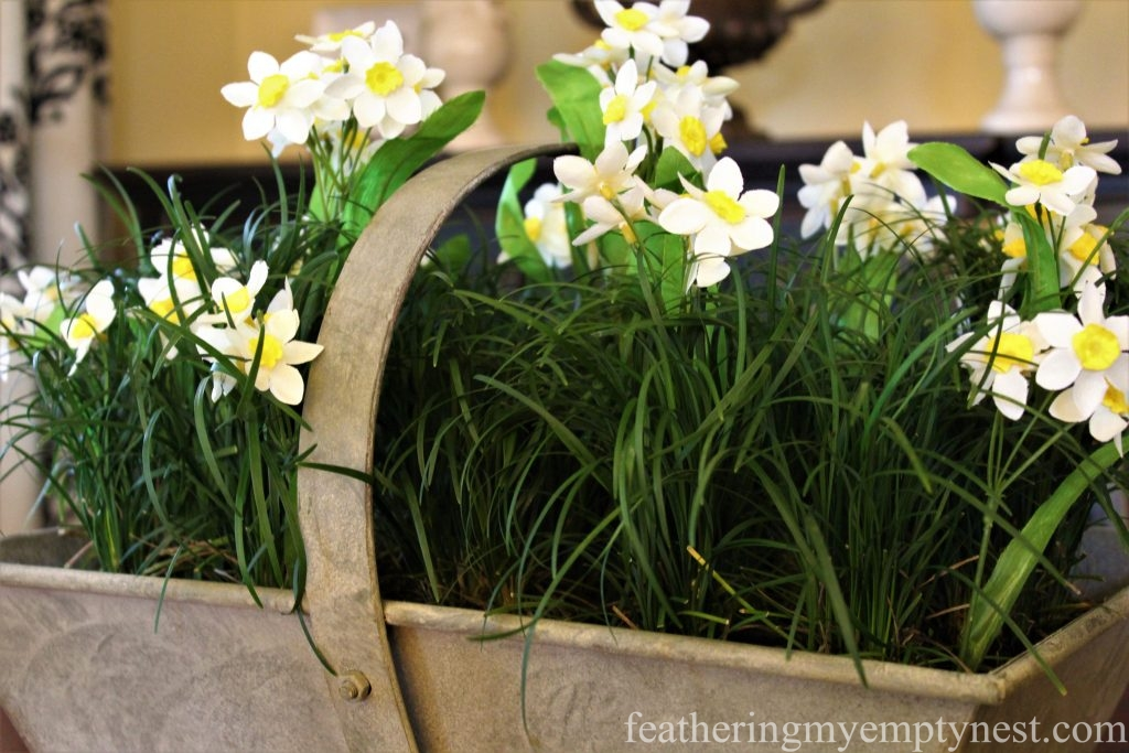Faux Narcissus are planted in live Mondo Grass for a convincing Spring display --How To Make A Live Grass Centerpiece For Your Spring Table
