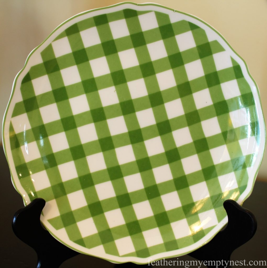 Green gingham salad plate --How To Set A Fresh Fun Farmhouse Easter Table