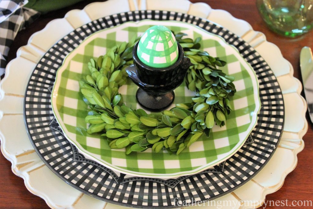 Green and black gingham plates --How To Set A Fresh Fun Farmhouse Easter Table