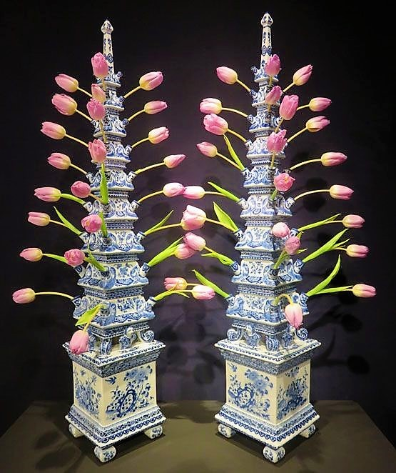 Pair of antique blue and white Delft tulipieres --Arranging Tulips Using Flower Arranging Tools & Tulipieres