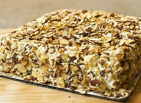 Pittsburgh Pennsylvania's Prantl's Bakery famous Burnt Almond Torte is the inspiration for a Spring Almond & Orange Bread Pudding With Balsamic Strawberry Sauce