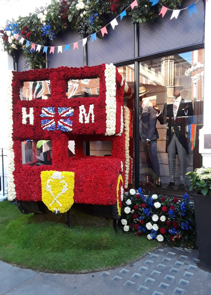 Get Me To The Church On Time royal wedding double decker bus --Chelsea In Bloom: 2018 Chelsea Flower Show Part 1