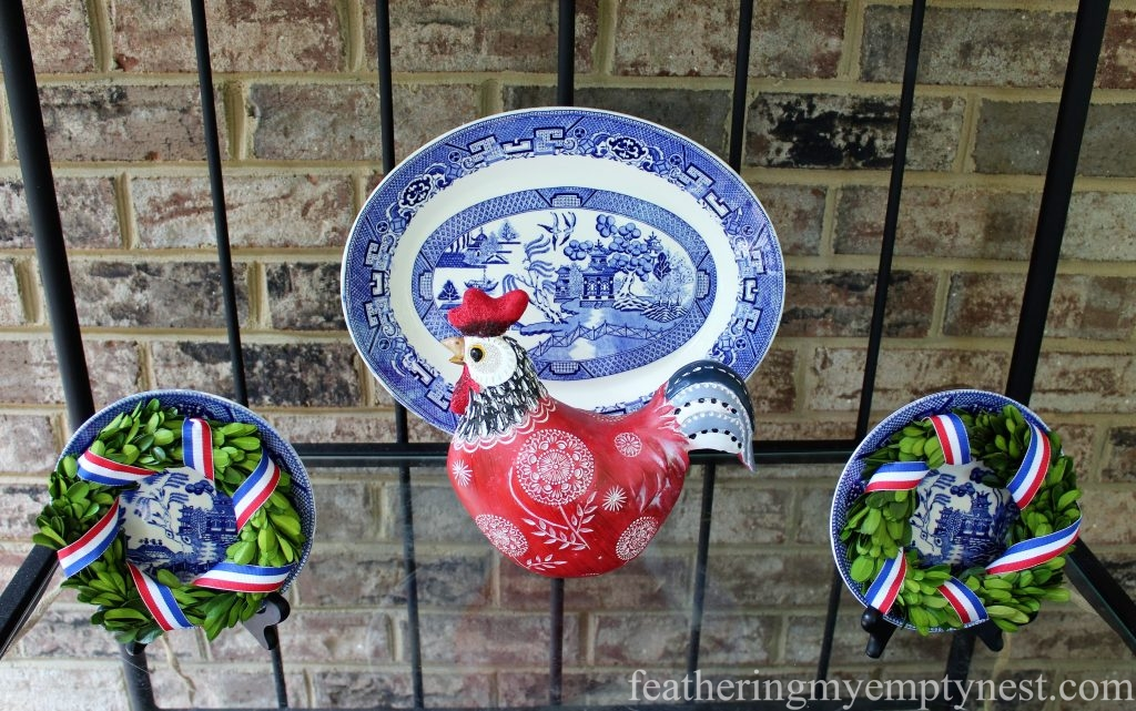 Blue Willow china is decked out for Memorial Day with the addition of an Americana Rooster and a couple of memorial wreaths.--Last Minute Memorial Day Decorations