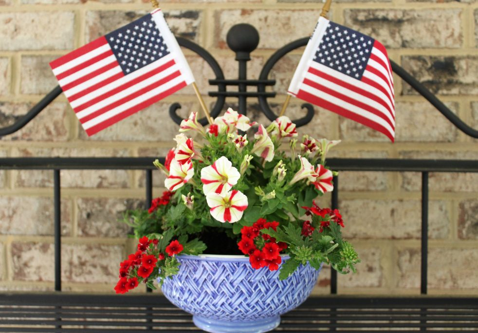 Mixing Bowl Patriotic Planter-- Last Minute Memorial Day Decorations