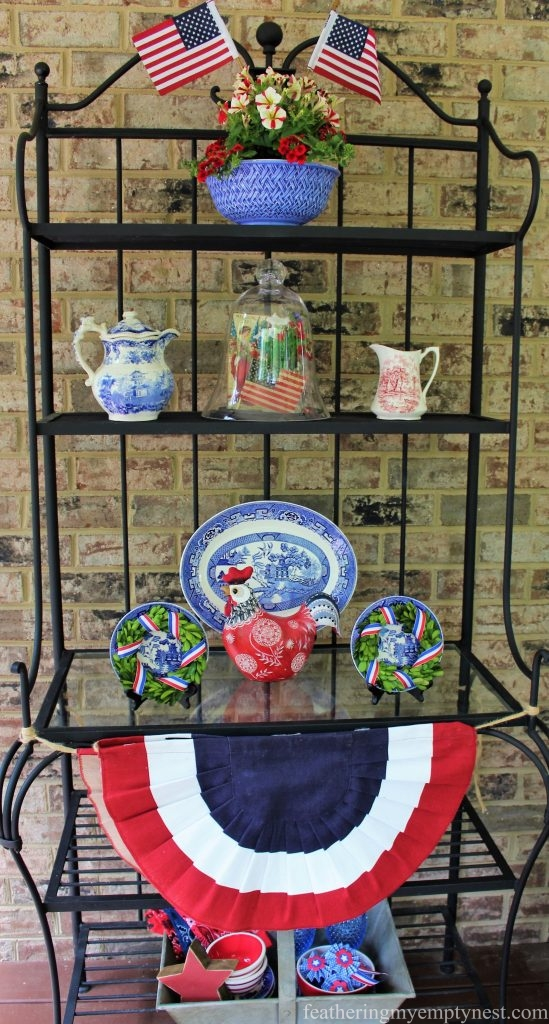 Patriotic Nostalgic decor displayed on an outdoor baker's rack --Last Minute Memorial Day Decorations
