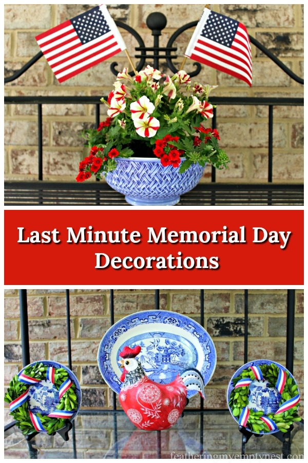 Last Minute Patriotic Decorations using dishware from around your house #Memorial Day, #4th Of July