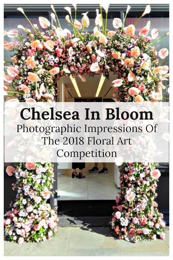 Love is in the air with the delicious scents of Roses, Eustoma, Hypericum, and Calla Lilies in the pink and peach shades of Nars' iconic blush that grace their doorway. Chelsea In Bloom: 2018 Chelsea Flower Show, Part 1 #floral design, #travel, #Chelsea Flower Show
