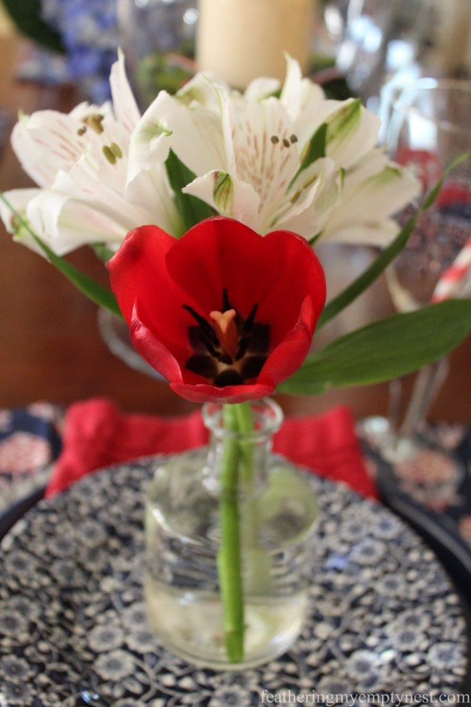 Flower arrangement on an indoor 4th Of July Table --Ideas For A Rainy 4th Of July