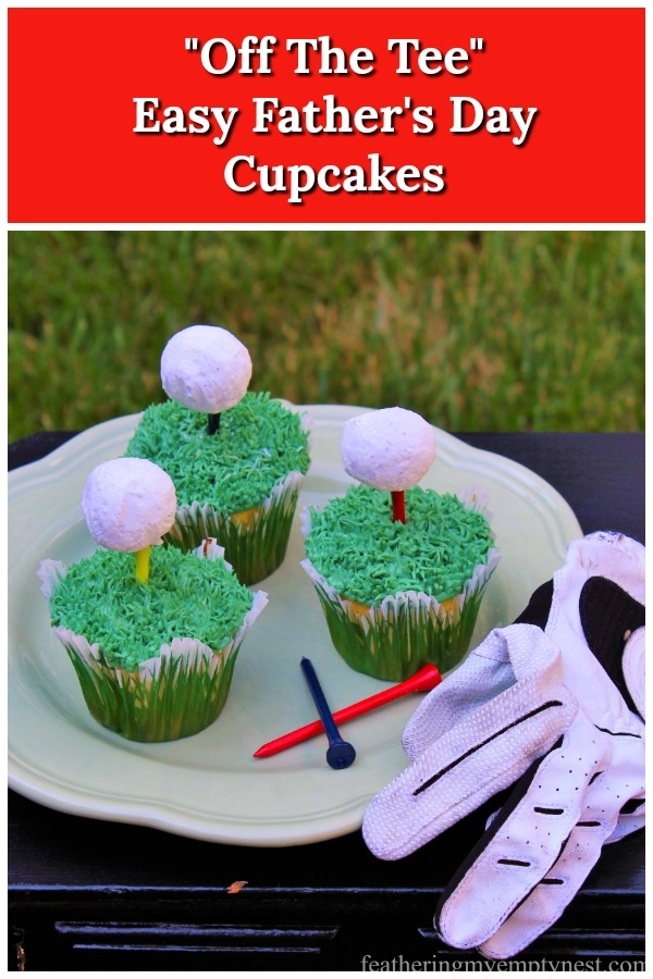 How to make quick and easy golf themed Father's Day Cupcakes, #Father's Day, #Father's Day Cupcakes, #Golf Cupcakes, #Golf Ball Cupcakes