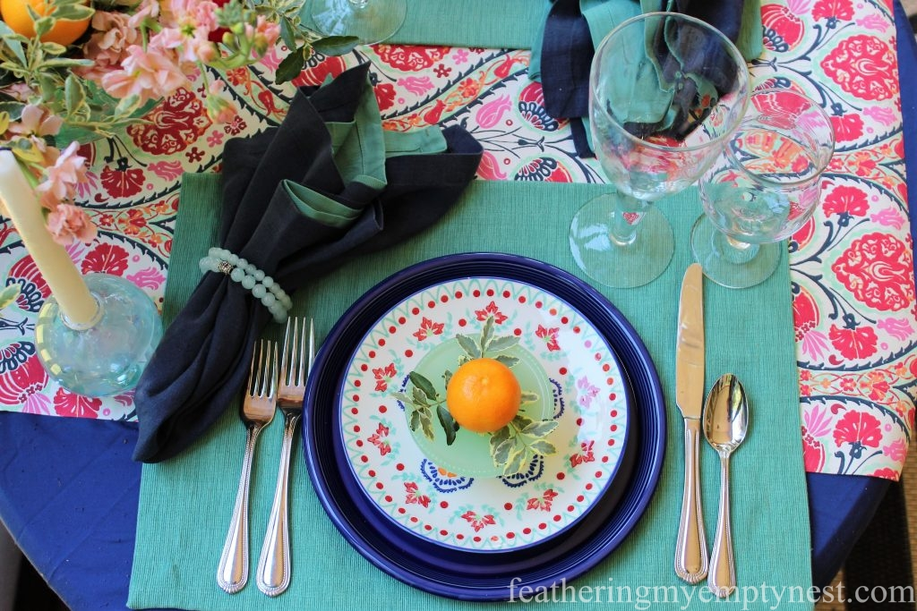 Colorful summer place setting for An Impromptu Outdoor Table For Two