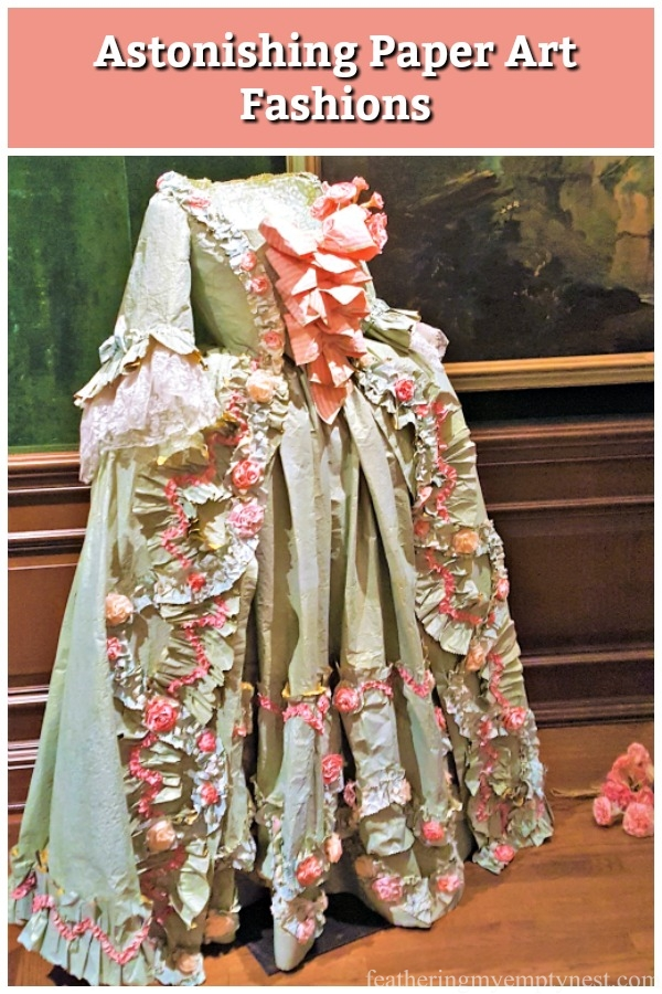 A visual tour of the astonishing life-sized paper art fashions of Isabelle Borchgrave exhibited at the Frick Museum in Pittsburgh, PA. #paperart, #historicalfashions, #isabelledeborchgrave