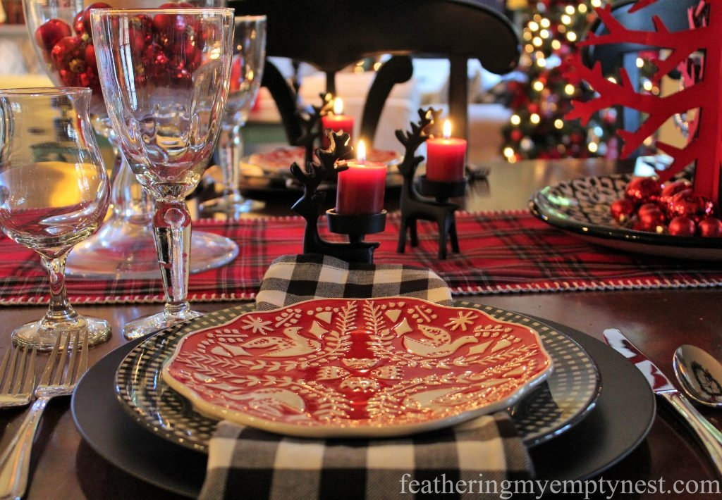 A Casual Christmas Table lit by candle light.