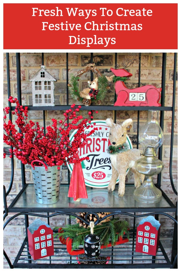 Fresh ideas for Christmas Decorating  a variety of different surfaces including dining tables, buffets, and shelves #Christmas Decorating, #Red Christmas Decor, #Christmas Decor, #Christmas Displays
