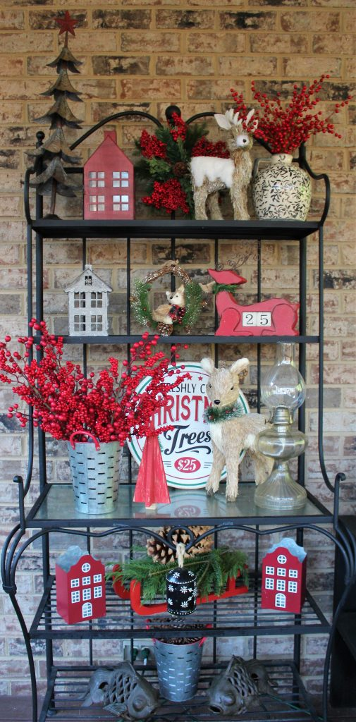 Christmas display on the screened porch --Christmas Decorating Odds & Ends