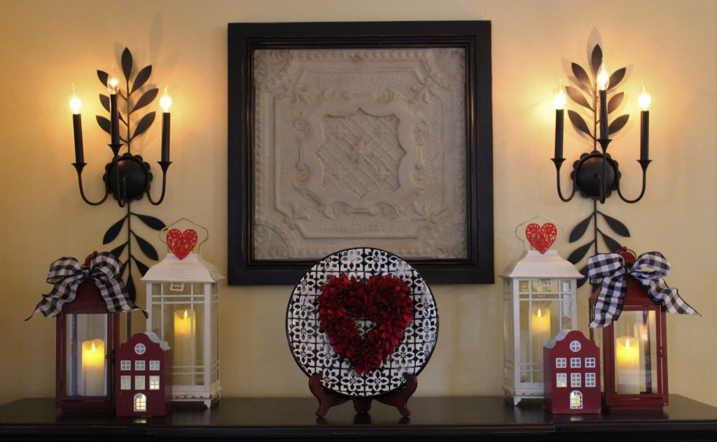 How to carry the theme of your Valentine's tablescape onto a buffet or nearby countertop.